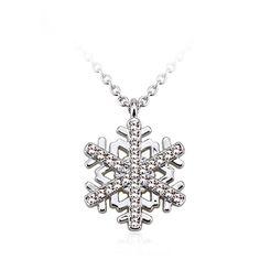 Snowflake Pendant Chain Necklace Austrian Crystal Rhodium Plating Silver-Tone #UPSERA #SnowflakePendant