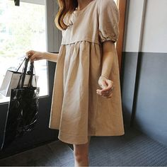 Vintage Short Sleeve Cotton Linen Shift Mini Dress Casual Plus Size Dresses Cheap Dresses, Dresses For Sale, Casual Dresses, Summer Dresses, Vestidos Vintage, Vintage Dresses, Feeding Dresses, Breastfeeding Dress, Nursing Clothes