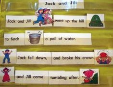 Flannel Board and Pocket Chart Center in Preschool is part of Nursery rhymes activities - Flannel Board and Pocket Chart Center in Preschool NurseryRhymes JackAndJill Nursery Rhyme Crafts, Nursery Rhymes Preschool, Nursery Rhyme Theme, Rhyming Preschool, Rhyming Activities, Phonics, Kindergarten Language Arts, Kindergarten Literacy, Classroom Fun