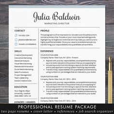 """Resume template / CV template for Word or Pages. """"The Julia"""" professional resu… Resume template / CV template for Word or Pages. Resume Format, Resume Cv, Resume Tips, Resume Writing, Resume Design, Resume Examples, Resume Ideas, Sample Resume, Resume Help"""