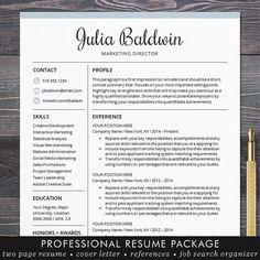 "★ Instant Download ★ Resume Template / CV Template   ""The Julia"" - Elegant Resume Design in mint. #shineresumes"