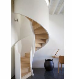 Raw Wood Staircase Guest room spiral stairs at the Chateau de la Resle. Such thin side rails Contemporary Stairs, Modern Stairs, Contemporary Design, Wood Staircase, Staircase Design, Staircase Ideas, Spiral Staircases, Stair Design, Wood Design
