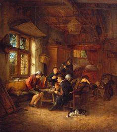Adriaen van Ostade - Taverne met vijf boeren en een vrouw