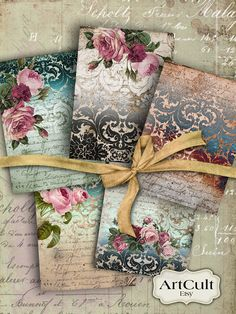 VICTORIAN DAMASK - Gift Tags Digital Collage Sheet Printable Download Jewelry holders paper Scrapbook Greeting cards Shabby Labels