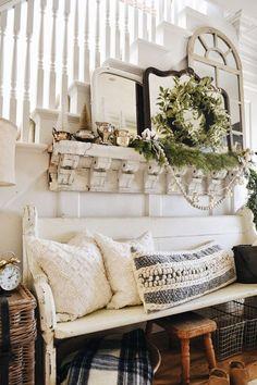 Cozy Rustic Christmas Farmhouse Entryway