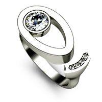 Unusual Engagement Ring With Split Design, Off set Diamond