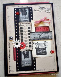 """Bonjour, Je vous présente mon album scrapé avec des papiers unis et des tampons Florilèges Design. Du Bazzill Noir, Kraft et Watermelon, du papier A4 noir et ivoire et une grande partie de mes 2 collections de tampons """"Vintage Mémories""""e t """"Souvenirs..."""