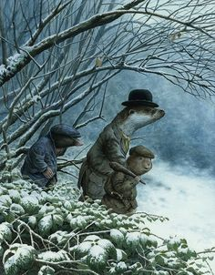 Chris Dunn Illustration - 'Leaving The Wild Wood' Ratty, Mole and Mr Otter leave Mr Badger to set out for home. Chris Dunn, Inspiration Artistique, Art Ancien, Dibujos Cute, Fairytale Art, You Draw, Children's Book Illustration, Book Illustrations, Drawing For Kids