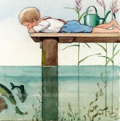 Elsa Beskow illustrated children's book. What child isn't fascinated by fish and water?