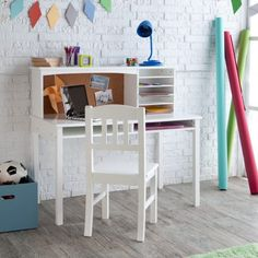 Furniture : White Brick Wall in Beautiful Small Bedroom Ideas With White Unique Teenage Desk and Wooden Flooring Also White Desk Chair Plus Green Desk Lamp Teenage Desk Accessories Small Desk Ikea - Desk for Teenagers with Design Choices