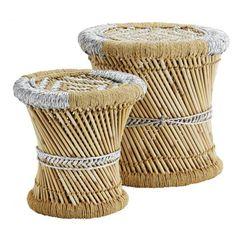 madam stoltz tabouret tisse bambou et corde argente irisee moti tresse deco…