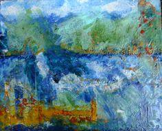My Jazztime. encaustic mixed media by Lea Sevcov $250