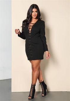 Plus Size Plunge Lace Up Bodycon Dress