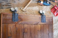 Barn Door Hardware DIY style.  (Best yet and I'm so checking out the Farm and Feed store ASAP!)