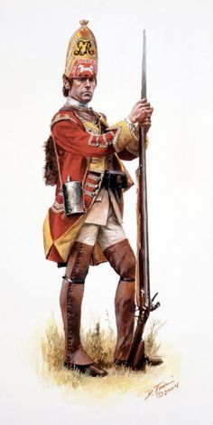French and Indian War: A British Grenadier of the Regiment of Foot He is dressed as he would have appeared during the disastrous Braddock campaign. Older study put up at request British Army Uniform, British Uniforms, British Soldier, American Revolutionary War, Native American History, American Civil War, Military Men, Military History, Military Uniforms