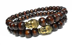 Men's Beaded Bracelet with Buddha Head Charm and Brown by Donasy, $24.00