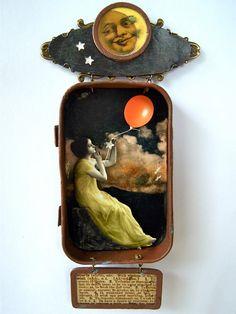 Barbara Bazan / Mixed media hanging Altoid tin shadow box shrine - What To Do On a Starless Night.