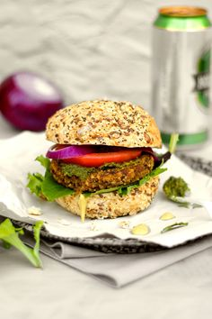 Mushroom Millet Burgers - these vegan and gluten free burgers are hearty and delicious! Great vegetarian burger option