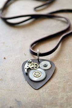 Guitar Pick Necklace  OOAK  Metal Guitar Pick  by Keytiques - kind of Steam Punk!