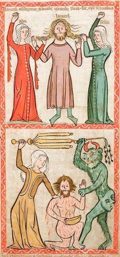 german 1360's illumination.Speculum Humanae Salvationis, Westfalen oder Köln, um 1360.