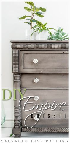 DIY Empire Dresser | French Linen & Gravel Road Makeover on Dresser | Salvaged Inspirations #siblog #salvagedinspirations #paintedfurniture #furniturepainting #DIYfurniture #furniturepaintingtutorials #howto #furnitureartist #furnitureflip #salvagedfurniture #furnituremakeover #beforeandafterfurnuture #paintedfurnituredieas #dixiebellepaint
