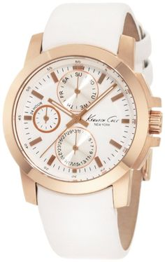 Kenneth Cole New York Women's KC2695 Chronograph Rose Gold Tone Bezel White Leather Strap Watch | Fashion Too Cheap