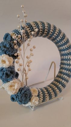 Crochet Wreath, Shabby Chic, Crochet Ring, Wreath, Floral Wreath, Home Decor