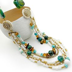 Multi Strand Necklace : Statement Necklace por osofreejewellery