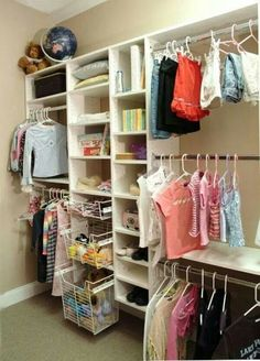 Closet storage idea for the girls closet.
