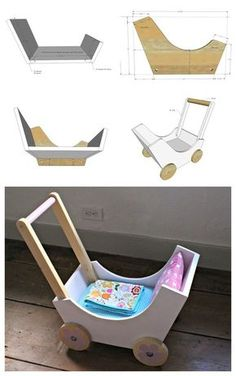 DIY Doll pram or stroller made from wood scraps. Build the pram bottom and ends with pocket holes on underside. Project Type: Toys Room: Kids and ToysNursery and Babymain_category: Handmade projects tips woodworking Wooden Crafts, Diy Wood Projects, Wooden Diy, Woodworking Projects, Diy Toys Wood, Woodworking Plans, Unique Woodworking, Woodworking Videos, Woodworking Shop
