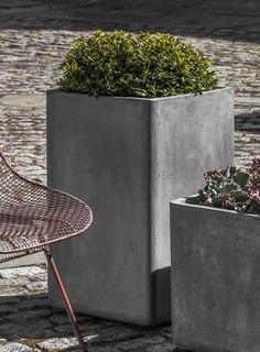 Tall Urban Cube Natural Fiber Cement Planter by Campania International