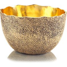 Cecile Hollywood Regency Hammered Antique Brass Gold Gloss Round Bowl ($587) ❤ liked on Polyvore