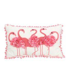 DEI Pink Fluffy Flamingo Pillow   zulily
