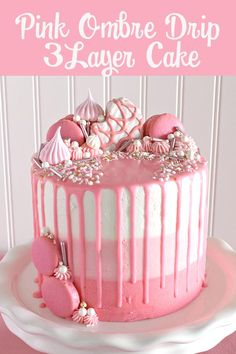 Pink Ombre Drip Layer Cake-Great things come in small packages. Pink ombre buttercream and pink ganache top off a three-tiered pink mini vanilla almond cake that's just the right size and color for a spring or summer celebration. Festive decorations like mini snack cakes, French macarons, meringue, and sprinkles can be customized to your taste. This sweet treat would be a perfect dessert for a baby or bridal shower, Mother's Day, Valentine's Day, Easter or an Anniversary. #imperialsugar…