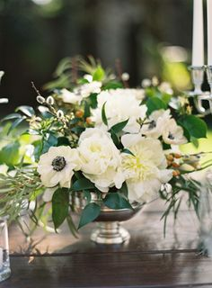 Elegant Spanish Mission Inspired Wedding...those black and white poppies are spot on for your color palette.