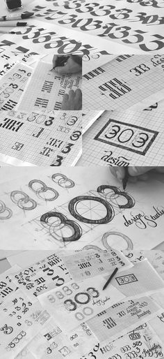 The creation of the logotype - countless scribbles with pencil on paper.