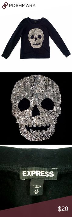 Express womens skull sweater size x small sequins Express womens skull sweater size x small sequins  -great like new condition!!! -size xs Express Sweaters Crew & Scoop Necks
