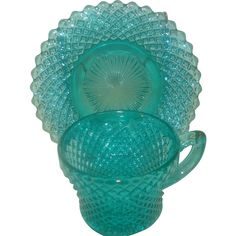 Miss America Depression Glass Cup & Saucer: Removed Glass Wall Lights, Glass Wall Art, Glass Tea Cups, Milk Glass, Antique Glassware, Miss America, Stained Glass Designs, Turquoise Glass, Fenton Glass