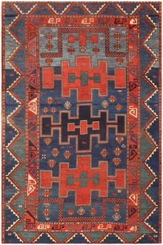 Antique Kazak Caucasian Rug 47041 Detail/Large View