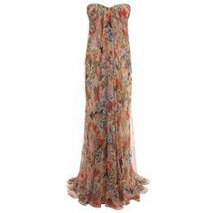 Alexander McQueen Patchwork Floral Draped Bustier Gown ❤ liked on Polyvore featuring alexander mcqueen