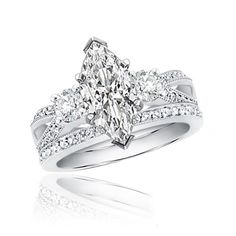 details about diamond bridal wedding ring set 215ctw marquise 14k
