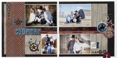 Scrapbook layout, cowboy, western, muted, browns, fun  #CloseToMyHeart #Studio J
