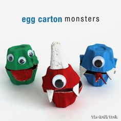 23 easy egg carton crafts for kids. Transform simple cardboard with these brilliant DIY egg carton projects. Monster Party, Monster Treats, Kids Crafts, Crafts For Kids To Make, Halloween Crafts For Kids, Halloween Diy, Holiday Crafts, Egg Cartoon Crafts, Egg Box Craft