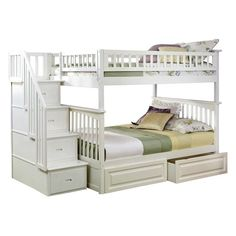 Atlantic Furniture Columbia Staircase Full Over Full Bunk Bed - AB558