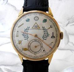 1950's Eccentric Girard Perregaux Masonic Dial 18K Rose Gold Men's Watch   eBay