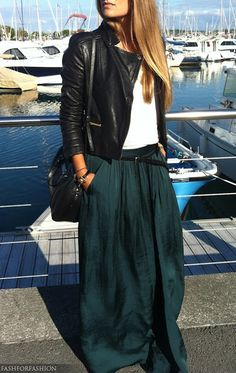 Leather jacket, white shirt, black belt and bag and forest/hunter  green maxi skirt