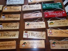 Christmas Signs... wood burning/pyrography and acrylic paint