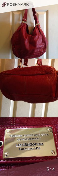 🌟Sale Liz Claiborne purse Very pretty red faux leather Liz Claiborne purse. The outside is in excellent condition, the inside has no tears but has a couple of ink stains(as shown in pictures). Liz Claiborne Bags Shoulder Bags