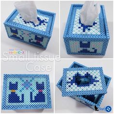 猫模様の小ティッシュケースを制作 #Parlorbeads #パーラービーズ #BOX #CAT #アイロンビーズ