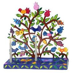 Yair Emanuel Tree of Life Menorah with Birds and Pomegranates in Lazer-Cut Metal